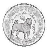 1/4 euro argent Année du chien 2006