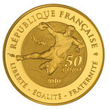 50 euros Jeux d'été Handball 2010 or 1/4 oz