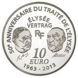10 euros argent Europa Traité de l'Elysée 2013