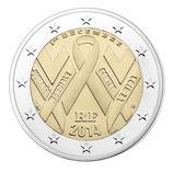 Les trois versions de la pièce de 2 euros Sidaction  : Circulante, BU et  BE 2014
