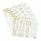 Étiquettes pays, écriture dorée diverses étiquettes supplémentaires