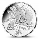 10 euros argent Astérix Liberté Rire 2015