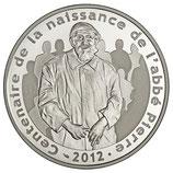 10 euros argent Abbé Pierre 2012