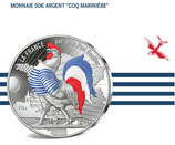 50 euros argent colorisée Coq marinière