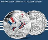 50 euros argent colorisée Poule Corset