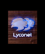 Lyconet Symbol in Nuß Natur gehackt