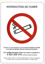Affichette interdiction de fumer