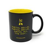 "Keramik-Tasse, matt, schwarz-gelb, Design ""Metal bells"""