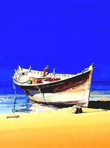 Beached boat, Oman