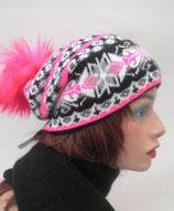 Mütze und Schal im Norwegerstil mit Kunstfellbommel, in3 Farben zur Auswahl. ( 1 )