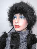 Damenmütze Tatramütze Bommelmütze in Schwarz ( 12 )