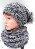 3-teiliges Set Mütze Schal/Loopschal und Handschuhe, in 2 Farben zur Auswahl. ( 6 )