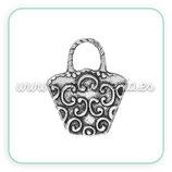 Charm bolso plateado cestilla ornamentos  (10 unidades) CHAOOO-C34210