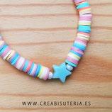 Pulsera acabada de moda cordón macramé / Katsukis tonos pastel y estrella turquesa