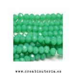 Abalorios -  Cristal facetado  4x3mm color verde mar P3312