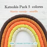 Abalorio arcilla Katsuki polimérica redondo plano 6,5mm (380/400 unidades apro) pack  marrón - naranja - beis - amarillo