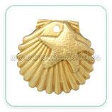 CHARM MARINO - concha y estrellas de mar de cobre, dorada   (10 unidades) c36