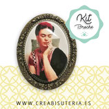 KIT BROCHE retrato Frida Kahlo bronce viejo 30x40mm BROFRI001
