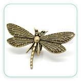 Entrepieza cuero libélula grande bronce viejo pulsera ENTOOO-C17157