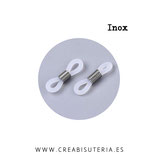 Conector  Accesorios gafas caucho blanco y plateado  Acero Inoxidable  (20 unidades)