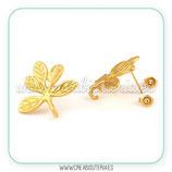 Pendiente base 5 hojas dorado mate (Un par) ACCBAS-C484