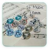 LOTE ÚNICO - cabuchones de cristal MOTIVOS MUSICALES 18mm