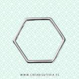 Aro poligonal 6 lados -  plateado   (20 unidades)