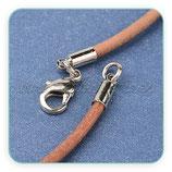 Correa collar acabada niquelada, cuero natural marrón claro 3mm  (unidad)