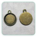 Camafeo base tipo medalla de 15x15mm cuerdita bronce viejo CAMBAS-R17054a (10 unidades)