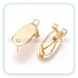 Pendiente base omega baño oro ovalado nuevo PQ735  (2 pares)