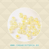 Abalorios -  Cristal de colores rocalla 3mm anacarada color amarillo champán 45gr RP003