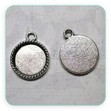 Camafeo base tipo medalla de 15x15mm cuerdita plata vieja CAMBAS-R17054b (10 unidades)