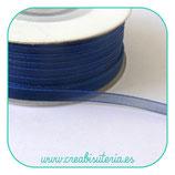 Cinta organza azul marino fina 0,7cm ancho