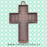 Colgante cruz muy grande con fondo para decorar tono cobre rojo  P088 (unidad)