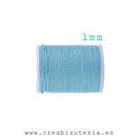 Hilo poliéster encerado trenzado suave 1mm de grosor / color Azul - 11 metros