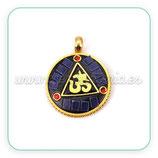 Colgante tibetano - 003 - Ohm dorado y Azul marino