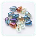 Abalorio de cristal - Gota 13x8mm Colores eléctricos efecto arcoiris variados (50unidades)