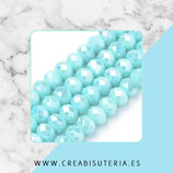 Abalorios -  Cristal facetado  4x3mm color azul claro electrochapado  P5314 (150 piezas)