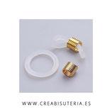 Conector Accesorio Gafas  caucho blanco y dorado   (20 unidades)