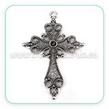 Colgante cruz ornamental grande plata vieja  R6641412