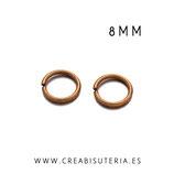 Anillas  duras latón bronce viejo 8mm  espesor 1mm - 50 unid