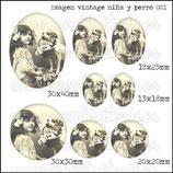 Imagen niña y perro vintage 001