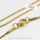 INOX - Cadena con cierre inox  dorado 1mm modelo serpiente, finita  46cm  Inox p53