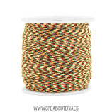 Cordón macramé 0,8mm  Calidad Suprema  Color Mix tonos marrón, verde  y amarillo (5 metros)