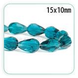 Abalorio cristal Gota azul pavo facetada  15x10mm ABA-C64698 (10 unidades)