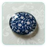 Cabuchón Cristal Colección Textil Flor Azul marino