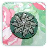 Cabuchón Cristal Mandala remolino dibujado sobre verde CONJUNTO 30+25+12+12+14+14mm