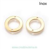 INOX - Conector acero inoxidable Aro hueco dorado 2 agujeritos (2 unidades)