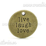 "Charm mensajito ""Live Laugh Love"" bronce antiguo 20mm COLOOO-C19385"