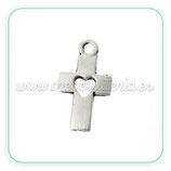 Charm cruz y corazón plateado (10 unidades) CHAOOO-C42755
